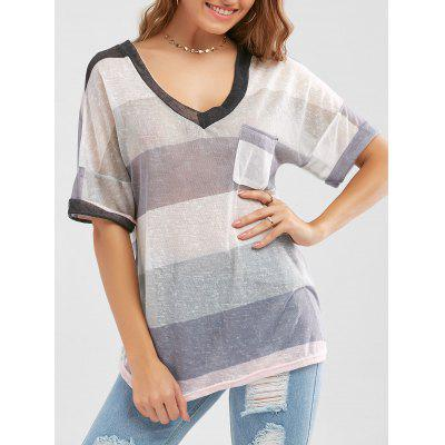 Striped Knit Pocketed Sheer T Shirt