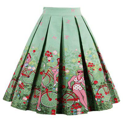 Printed High Waisted Pleated Skirt