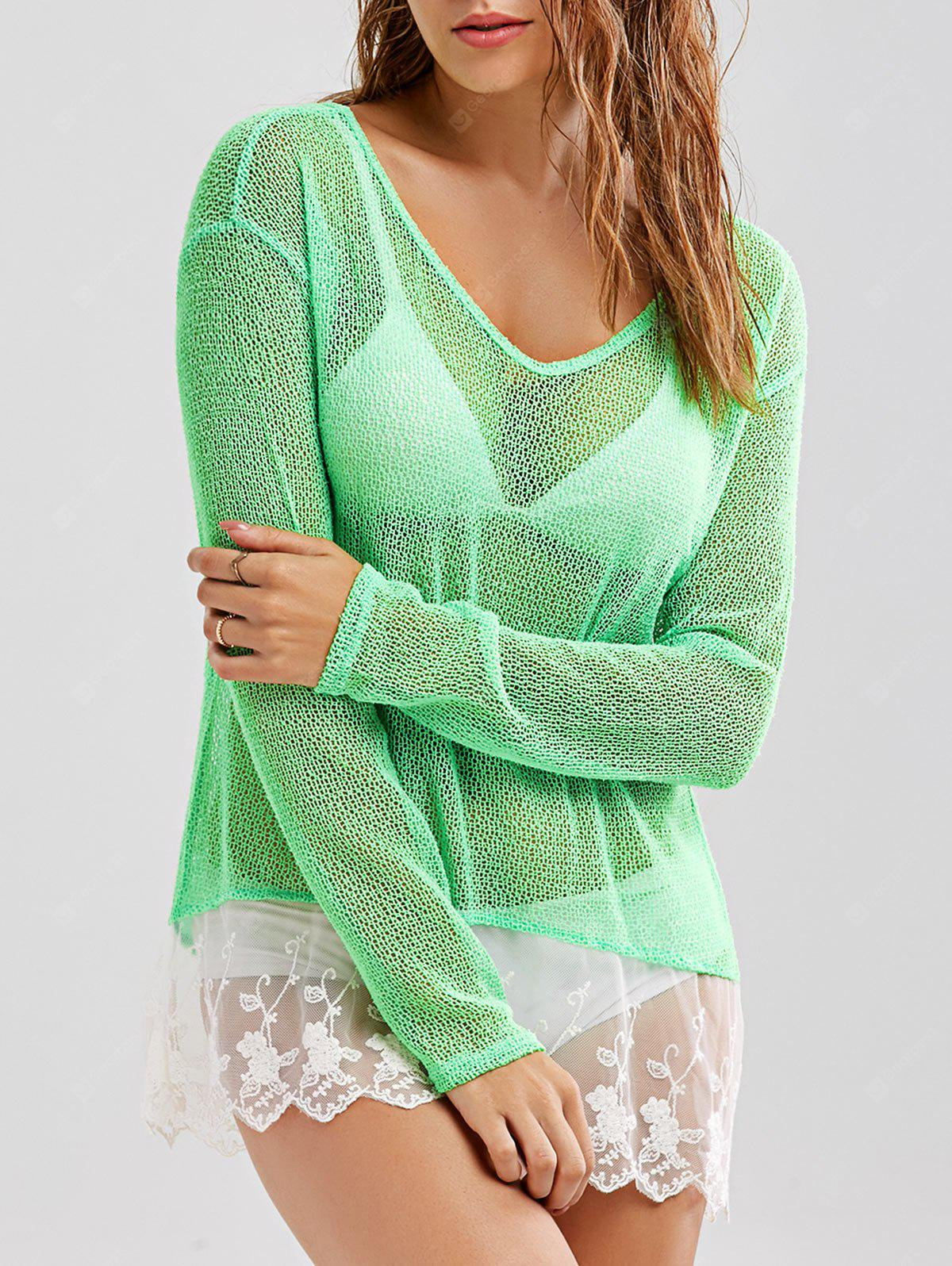 See-Through High Low Crochet Tunic Cover-Up