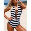 Lace-Up Halter Striped High Waisted Swimsuit - WHITE AND BLACK
