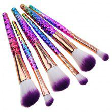 6Pcs Honeycomb Handle Plated Ombre Makeup Brushes Set