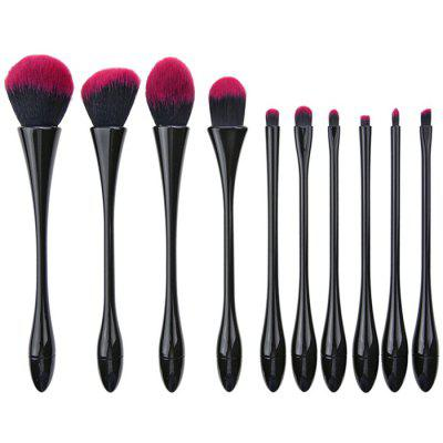 10Pcs Plating Fibre Hair Waisted Makeup Brushes Set