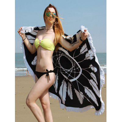 Fringe Round Beach Towel with Dreamcatcher Print
