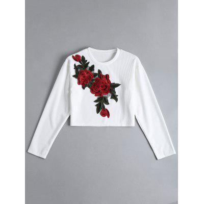 Floral Embroidered Cropped Ribbed Top