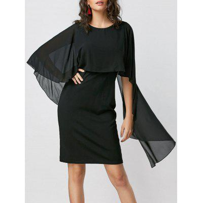 Buy BLACK XL Capelet Bodycon Dress for $28.42 in GearBest store