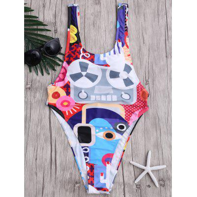 One Piece Backless Abstract Print Swimwear