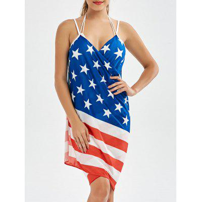 American Flag Pattern Patriotic Wrap Cover Up Dress
