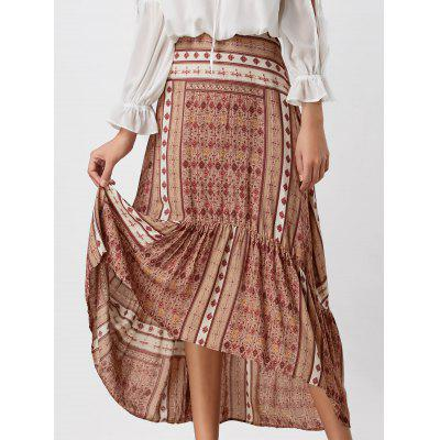 Buy COLORMIX S High Waisted Printed High Low Skirt for $18.68 in GearBest store