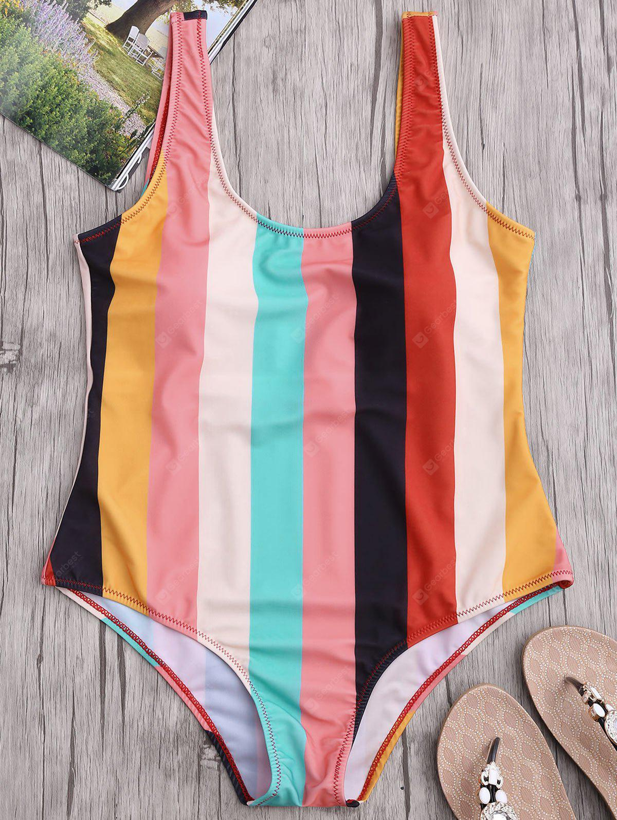 Colorful Stripe Backless One Piece Swimsuit