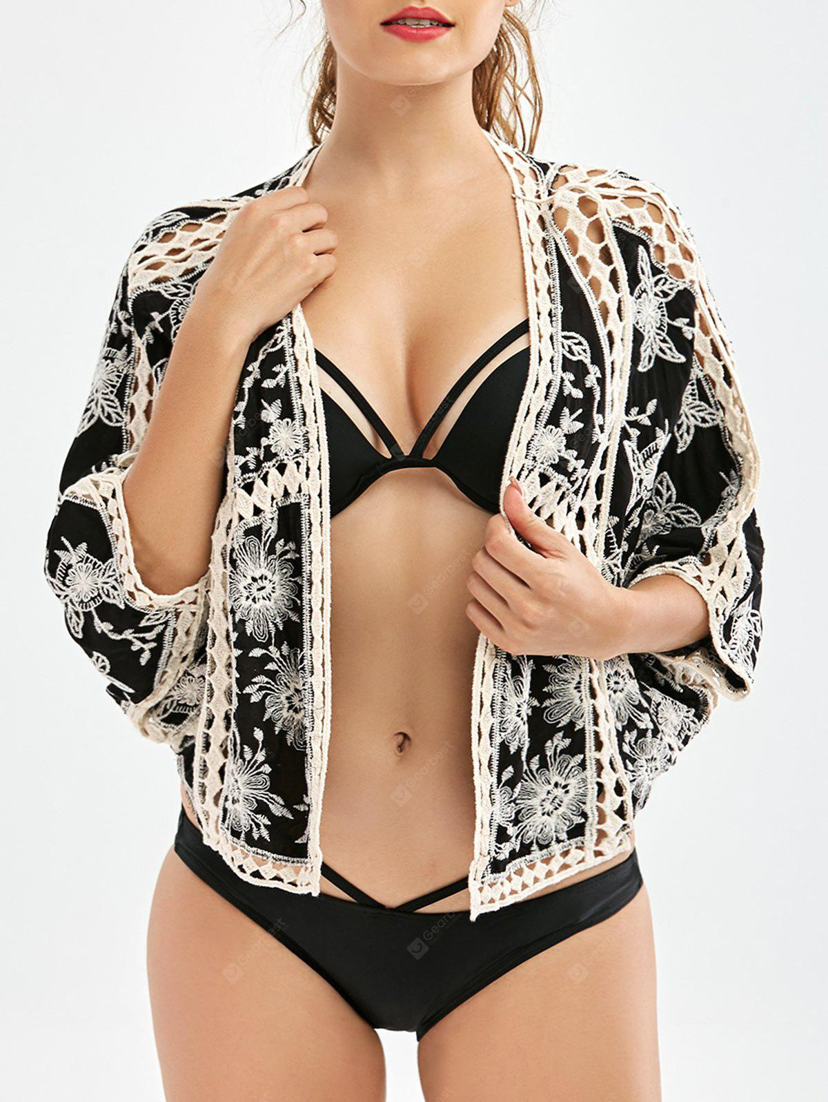Batwing Sleeve Embroidered Beach Cover Up