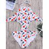 Open Back Goldfish Print Scalloped Trim Swimsuit - BLANC