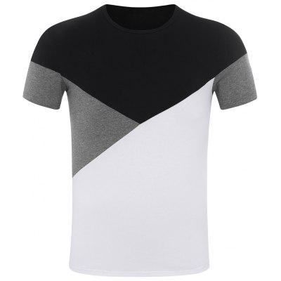 Short Sleeve Color Block Panel Tee