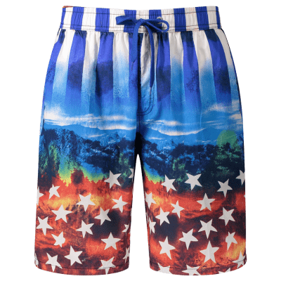 Buy BLUE 2XL Star and Stripe Print Board Shorts for $18.02 in GearBest store