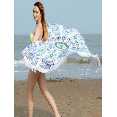Flower Print Fringe Round Beach Towel