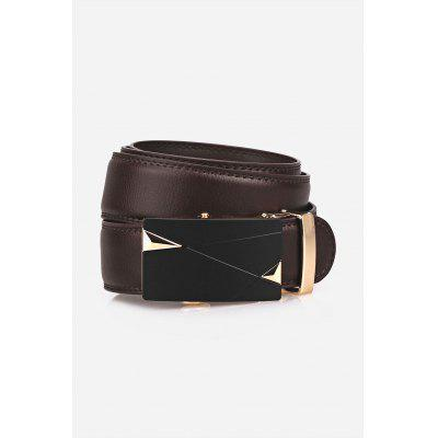 Auto Buckle Triangle Bulge Faux Leather Belt faux leather spliced butterfly buckle belt