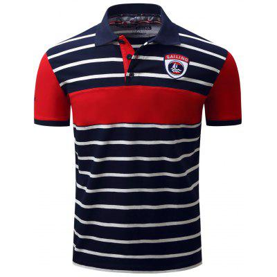 Color Block Panel Stripe Embroidered Polo T-shirt