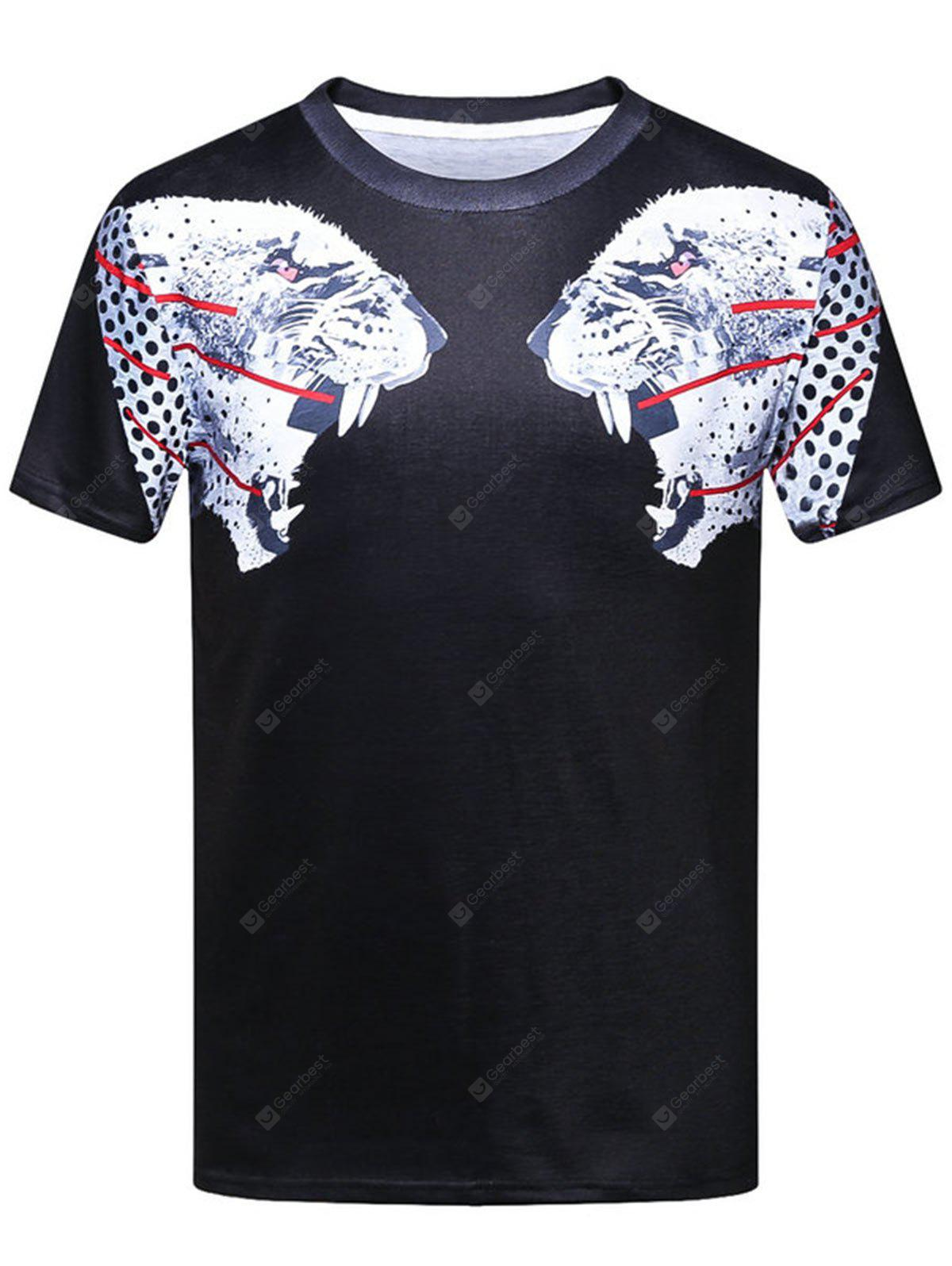 Leopard Head Animal 3D Print Crew Neck T-shirt