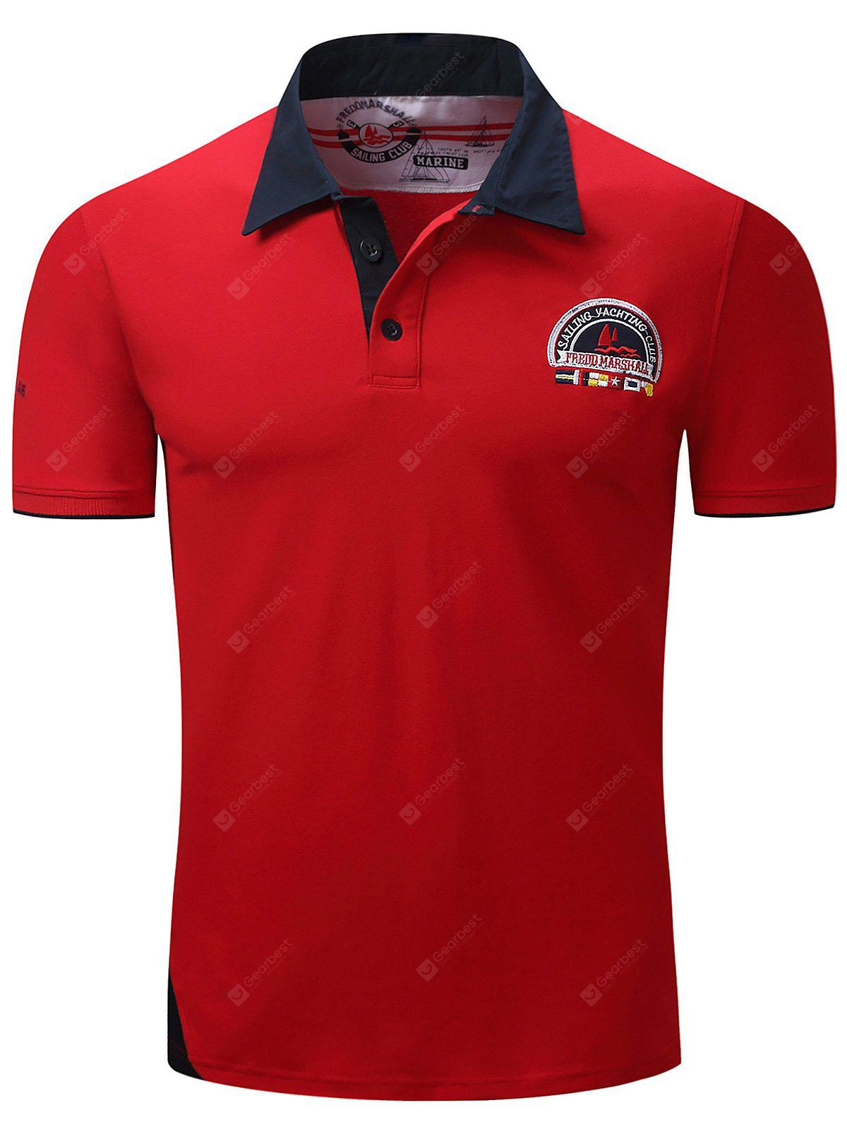 Color Block Panel Graphic Embroidered Polo T-shirt