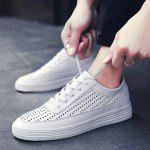 Breathable Faux Leather Tie Up Casual Shoes - WHITE