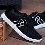 Stitching Breathable Tie Up Casual Shoes - BLACK
