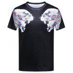 Leopard Head Animal 3D Print Crew Neck T-shirt - BLACK