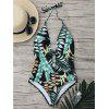 Tropical Halter Backless One Piece Swimsuit - GREEN