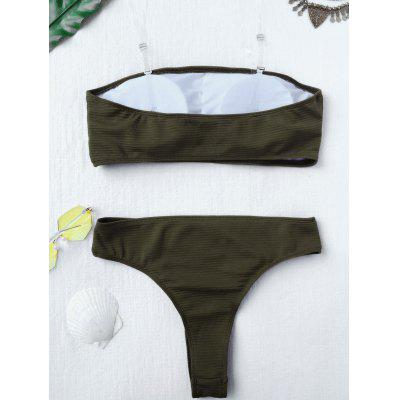 Rib Texture High Leg Bandeau Bikini SetWomens Swimwear<br>Rib Texture High Leg Bandeau Bikini Set<br><br>Bra Style: Padded<br>Elasticity: Elastic<br>Gender: For Women<br>Material: Cotton, Polyester, Spandex<br>Neckline: Bandeau Collar<br>Package Contents: 1 x Top  1 x Bottoms<br>Pattern Type: Solid<br>Support Type: Wire Free<br>Swimwear Type: Bikini<br>Waist: Natural<br>Weight: 0.2000kg