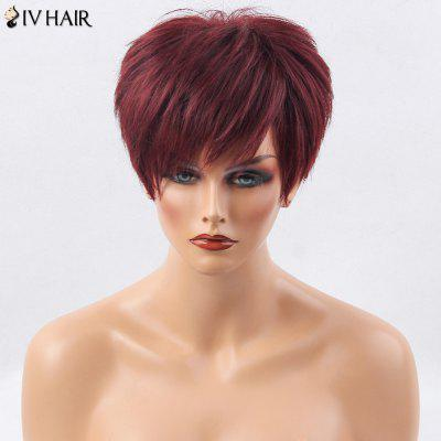 Siv Hair Short Side Bang Layered Straight Human Hair Wig