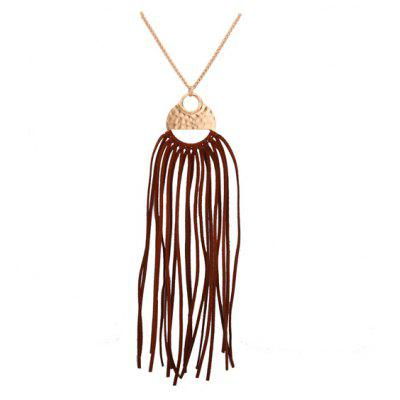 Faux Leather Tassel Round Pendant Necklace