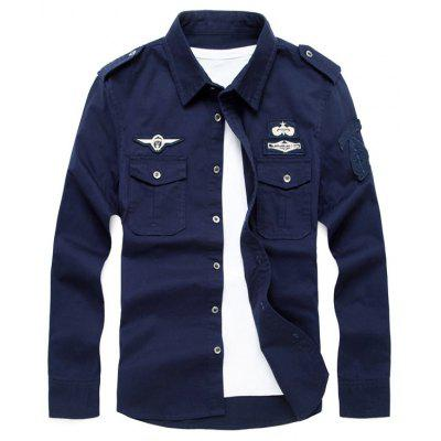Buy ROYAL L Badge Embroidered Front Pocket Design Military Shirt for $28.26 in GearBest store