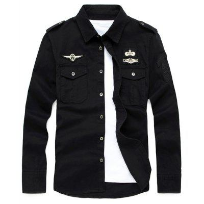 Buy BLACK XL Badge Embroidered Front Pocket Design Military Shirt for $28.26 in GearBest store