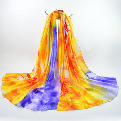 Two Tone Floral Printed Imitation Silk Scarf