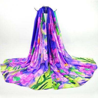 Fancy Floral Smooth Imitation Silk Fabric Scarf