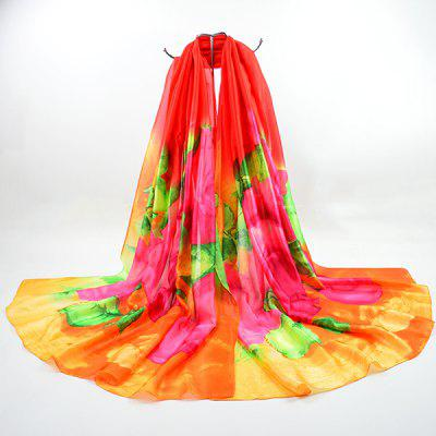 Color Blocking Smooth Imitation Silk Fabric Scarf