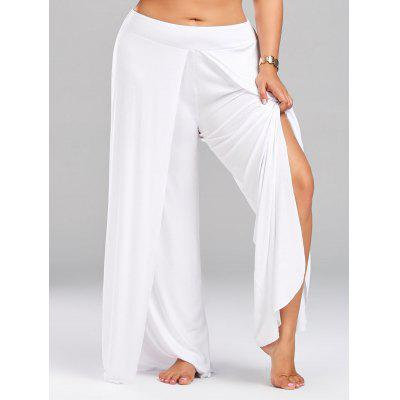 Buy WHITE 5XL Plus Size Palazzo Pants with High Split for $23.99 in GearBest store