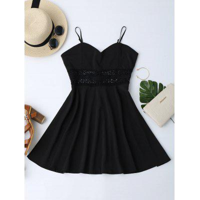 Buy BLACK M Cami Crochet Waist Skater Sun Dress for $17.04 in GearBest store