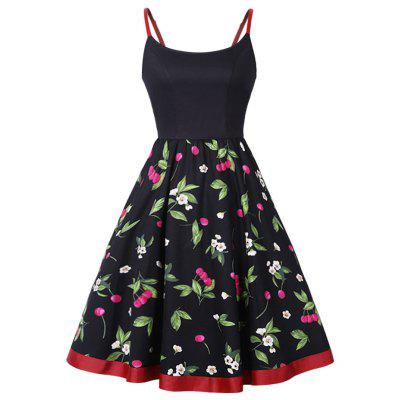 Cherry Print Slip Fit and Flare Dress