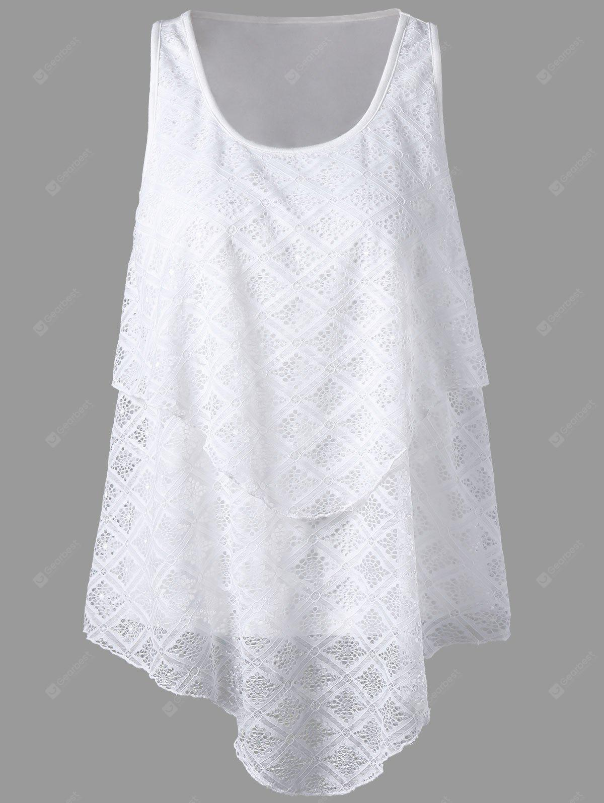 WHITE L U Neck Lace Panel Asymmetrical Top