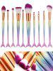 MAANGE 10 Pcs Rainbow Ombre Mermaid Makeup Brushes Set - COLORFUL