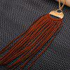 Faux Leather Tassel Round Pendant Necklace - DEEP BROWN