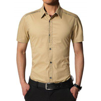 Edging Turndown Collar Slim Fit Cargo Shirt