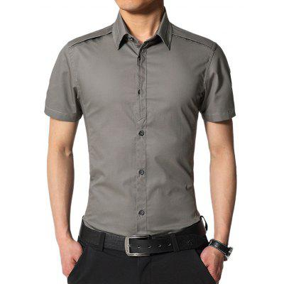 Buy DEEP GRAY Edging Turndown Collar Slim Fit Cargo Shirt for $20.42 in GearBest store