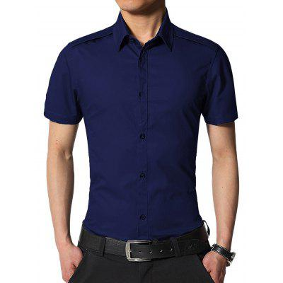 Buy DEEP BLUE Edging Turndown Collar Slim Fit Cargo Shirt for $20.42 in GearBest store