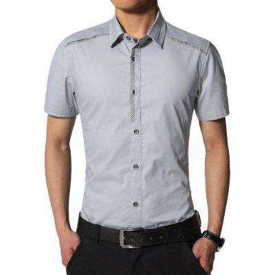 Buy LIGHT GRAY Edging Turndown Collar Slim Fit Cargo Shirt for $20.42 in GearBest store