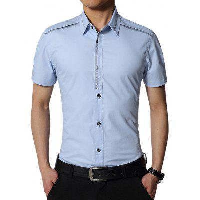 Buy LIGHT BLUE Edging Turndown Collar Slim Fit Cargo Shirt for $20.42 in GearBest store