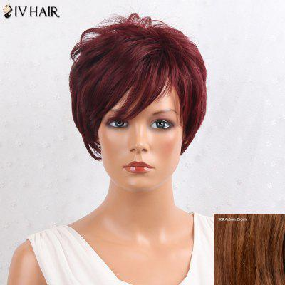 Buy AUBURN BROWN #30 Siv Hair Shaggy Layered Side Bang Short Straight Human Hair Wig for $47.62 in GearBest store