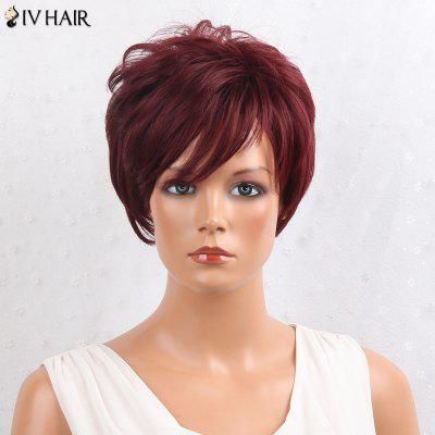 Buy BURGUNDY Siv Hair Shaggy Layered Side Bang Short Straight Human Hair Wig for $47.62 in GearBest store