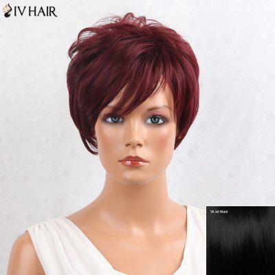 Buy JET BLACK Siv Hair Shaggy Layered Side Bang Short Straight Human Hair Wig for $47.62 in GearBest store