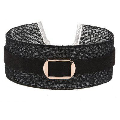 Buckle Embellished Wide Choker Necklace