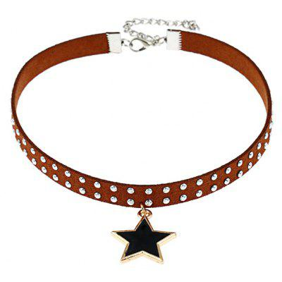 Rivet Star Faux Leather Choker Necklace